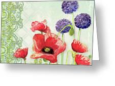 Red Poppy Purple Allium IIi - Retro Modern Patterns Greeting Card