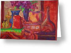 Red Purse On Green Book Greeting Card