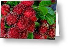 Red Rambutan And Green Leaves Greeting Card