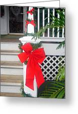Red Ribbon On Steps Greeting Card