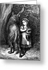 Red Riding Hood Meets Old Father Wolf Greeting Card