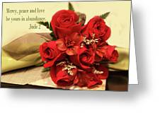 Red Roas Bouquet Jude 2 Greeting Card