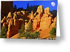 Red Rock Canoyon Moonrise Greeting Card