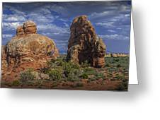 Red Rock Formations On A Desert Plateau In Utah Greeting Card