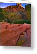Red Rock Reflection Greeting Card by Mike  Dawson