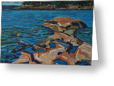 Red Rocks And Pooled Water Greeting Card