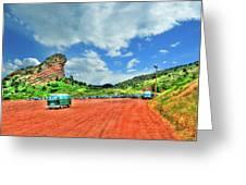 Red Rocks Hippie Van Greeting Card