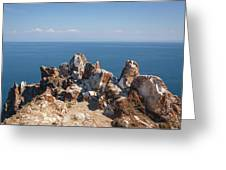 Red Rocks On Blue Sky And Water Background Greeting Card by Sergey Taran