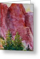 Red Rocks With Two Junipers Greeting Card