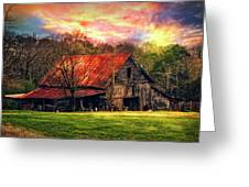 Red Roof At Sunset Greeting Card