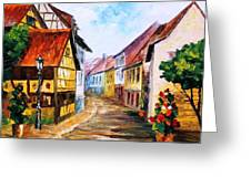 Red Roof - Palette Knife Oil Painting On Canvas By Leonid Afremov Greeting Card