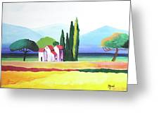 Red Roof Pastoral Greeting Card