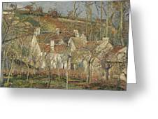 Red Roofs, Corner Of A Village, Winter Greeting Card