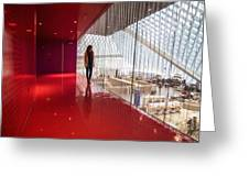 Red Room Views At The Seattle Central Library Greeting Card
