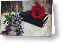 Red Rose And Sage With Vintage Books Greeting Card