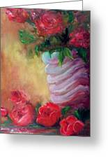 Red Roses For A Blue Vase Greeting Card