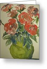Red Roses In A Green Vase Greeting Card