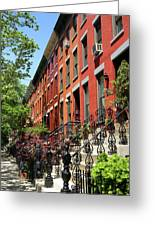 Red Row Houses Greeting Card