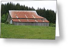 Red Rusty Tin Roofed Old Barn Washington State Greeting Card