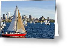Red Sail Boat Greeting Card