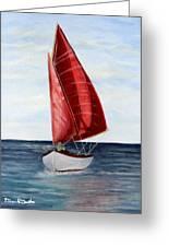 Red Sail Serenity Greeting Card