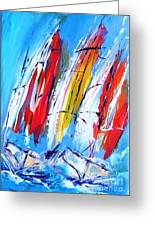 Red Sails On Blue  Greeting Card