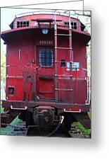 Red Sante Fe Caboose Train . 7d10476 Greeting Card by Wingsdomain Art and Photography