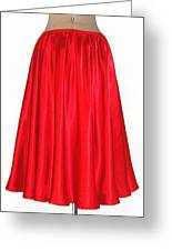 Red Satin Mid-calf Skirt. Ameynra Simple Line 2013 Greeting Card