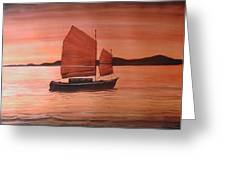 Red Sea With Chinese Boat Greeting Card