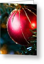 Red Shiny Ornament Greeting Card