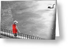 Red Shirt, Black Swanla Seu, Palma De Greeting Card