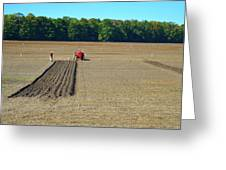 Red Shirt Red Tractor  Greeting Card