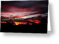 Red Skies At Pleasure Island Bridge Greeting Card