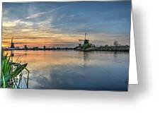 Red Skies Over Kinderdijk Greeting Card