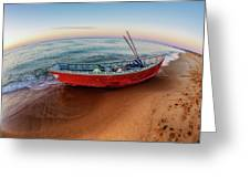 Red Skiff Greeting Card