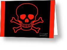 Red Skull And Crossbones Greeting Card