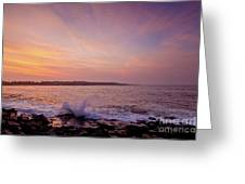 Red Sky And Storm Waves Greeting Card