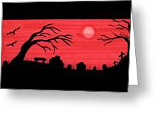 Red Sky Cemetery Greeting Card