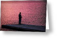 Red Sky Fishing Greeting Card