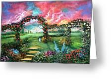 Red Sky Garden Greeting Card
