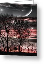 Red Sky Moon Greeting Card