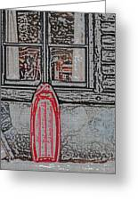 Red Sled Waiting Greeting Card