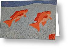 Red Snapper Inlay On Alabama Welcome Center Floor Greeting Card
