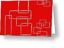 Red Squares Greeting Card
