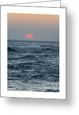 Red Sun With Wave Greeting Card