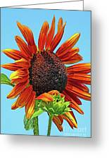 Red Sunflowers-adult And Child Greeting Card