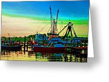 Red Sunrise And The Shrimp Boat Greeting Card