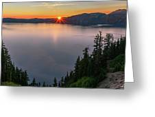 Red Sunrise At Crater Lake Greeting Card by John Hight