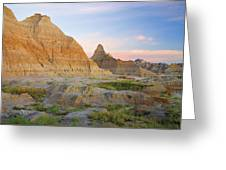 Red Sunrise On The Hills Of Badlands Greeting Card