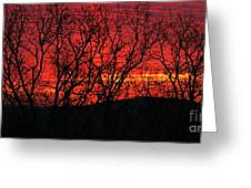 Red Sunrise Over The Ozarks Greeting Card